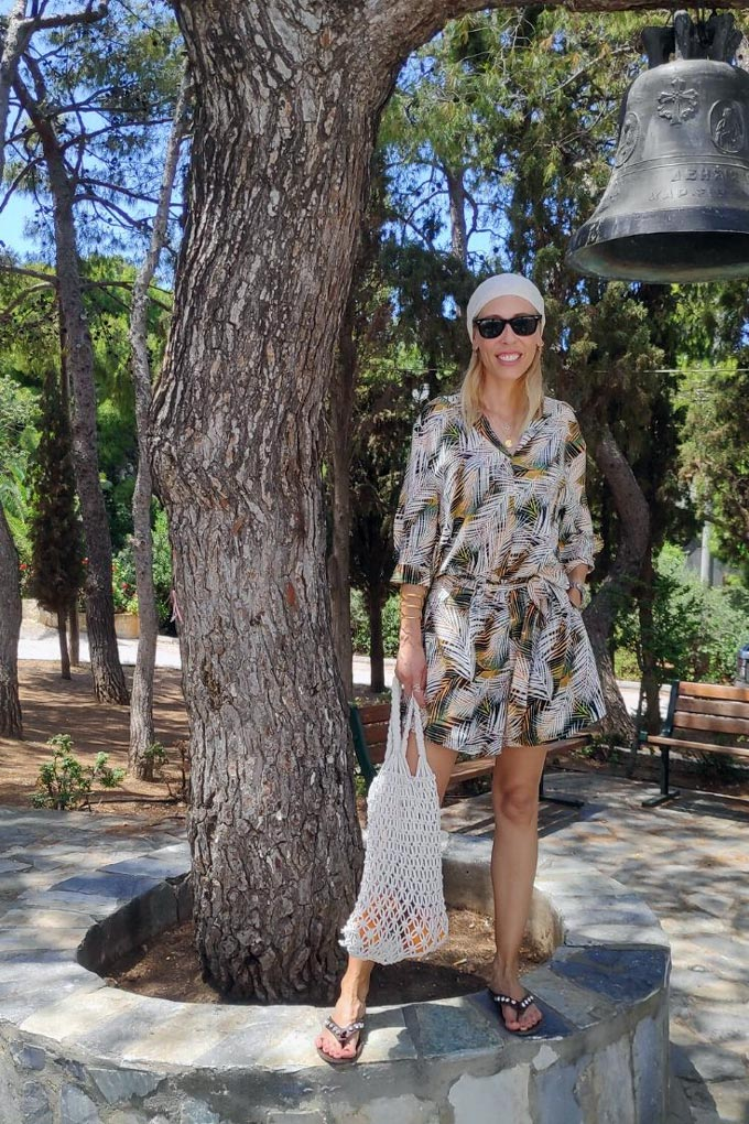 Elisabeth in a tropical theme playsuit - another suitable outfit for the Greek islands.