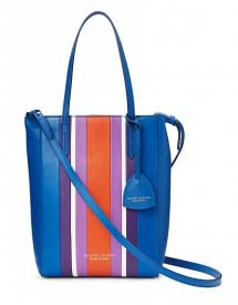 Blue tote bag with purple and orange stripes in the middle.