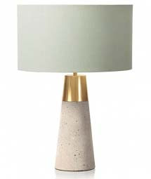 Table lamp with a terrazzo base and brass details