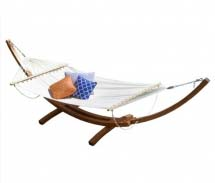 Hammock with wooden stand.