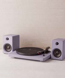 Bluetooth turntable with speakers.