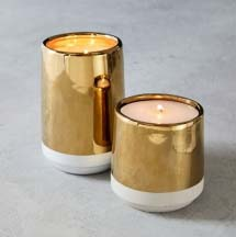 Cement and gold candles