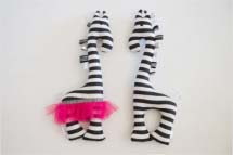 Black and white striped giraffe rattles