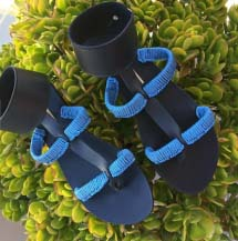Handmade black, Greek sandals with blue weaved straps
