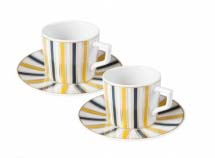 A set of espresso coffee cups with blue and yellow stripes.