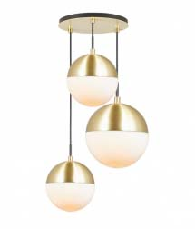 A pendant lighting with 3 globes and brass details.