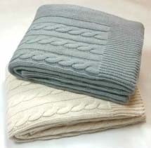 Large handmade knit blanket throws in gray and white