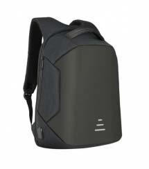 A black backpack with a USB charger
