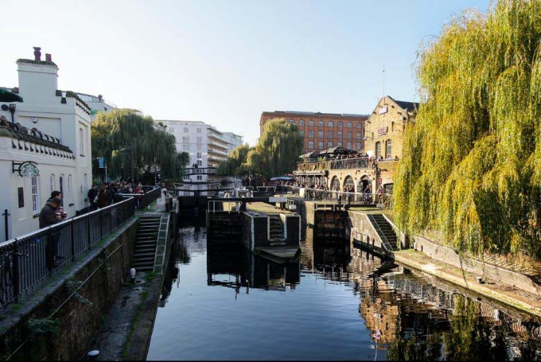 View of the canal at Camden Town on a sunny day. Copyright image by Timo Weuter.