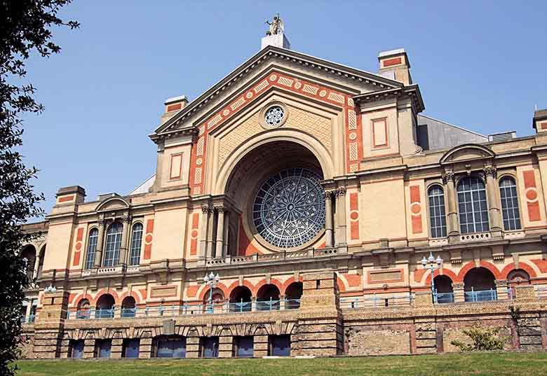 View of the front facade of the Alexandra Palace in North London
