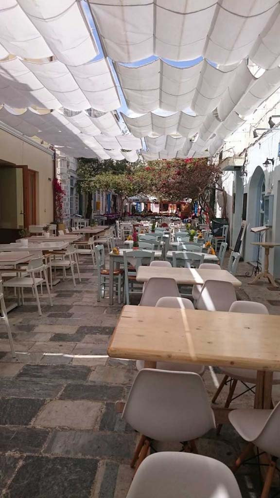 An alley within the pedestrian zone, with lots of restaurants along its length.