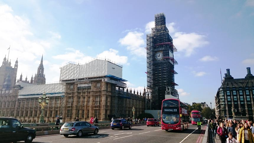View of Big Ben and the Parliament House with scaffolding because of the ongoing reno.