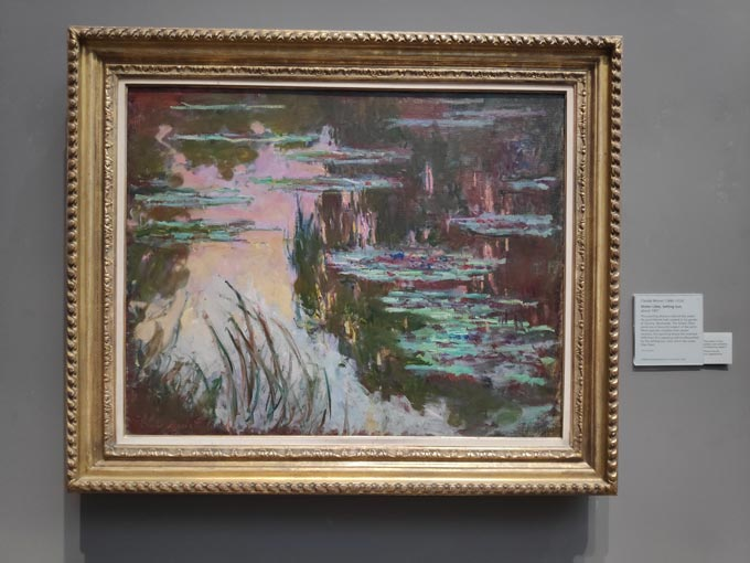 Monet's Water Lilies at sunset - a painting from the National Gallery's collection.