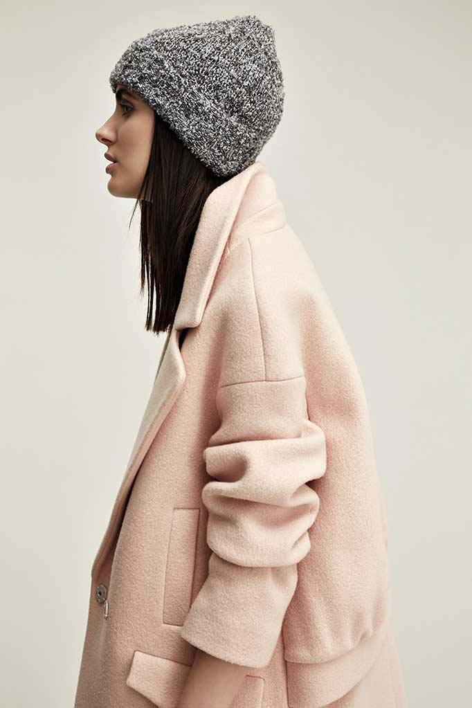 This must be the perfect blush pink coat ever, worn by a beautiful model. Image by House of Fraser.