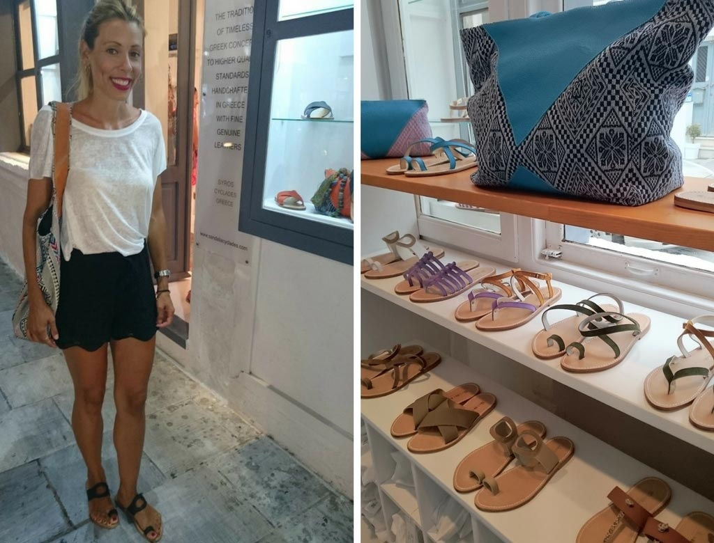 Left. Elisabeth wearing a white t-shirt, black shorts, and black sandals from Sandalia Cyclades. Right. Bags and sandals lined up on display inside the shop Sandalia Cyclades in Syros.