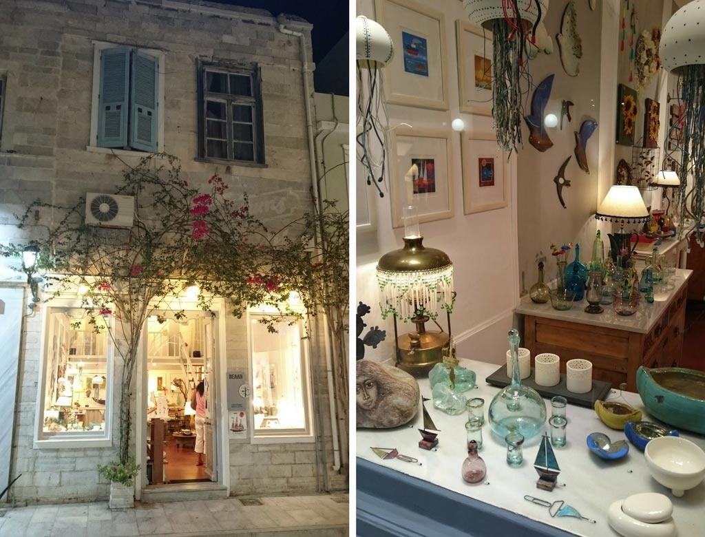 Left. The exterior facade of a arts and crafts shop in Syros. Right. One of the two window displays of Velli's arts and crafts shop.