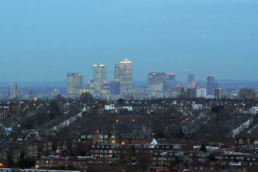 View of London from Alexandra Palace in North London.