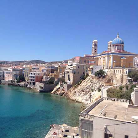 View of the Saint Nicholas church at the Vaporia Quarter in Hermoupolis, Syros