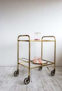Vintage brassy bar cart