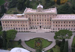 View from the dome of Saint Peter's Cathedral in Vatican to the headquarters. Image by George