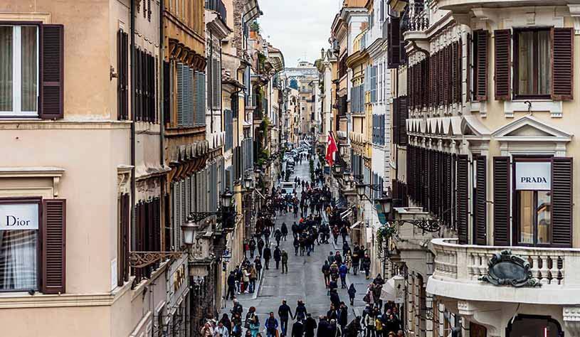 View of the Via Veneto (one of the most popular streets in Rome) taken from Piazza di Spagn