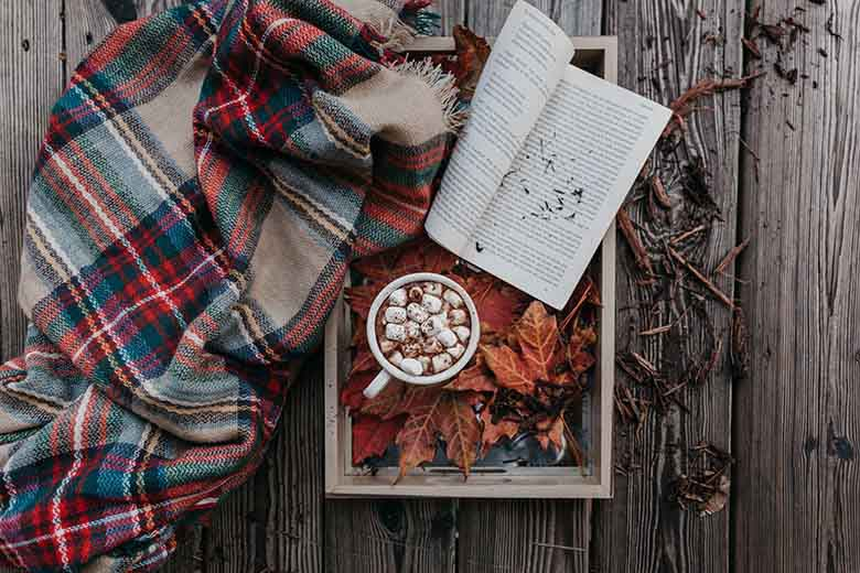 A blanket with red checks scattered on the floor next to a tray with an open book, autumn leaves and a mug with marshmallows in it