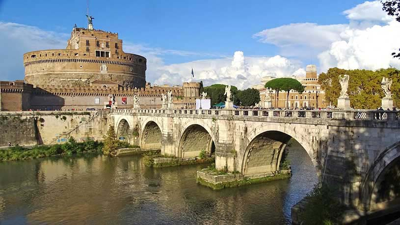 View of Castel Sant' Angelo from the other bank of Tiber