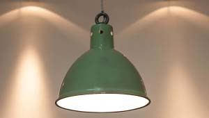 Original factory pendant light in green enamel