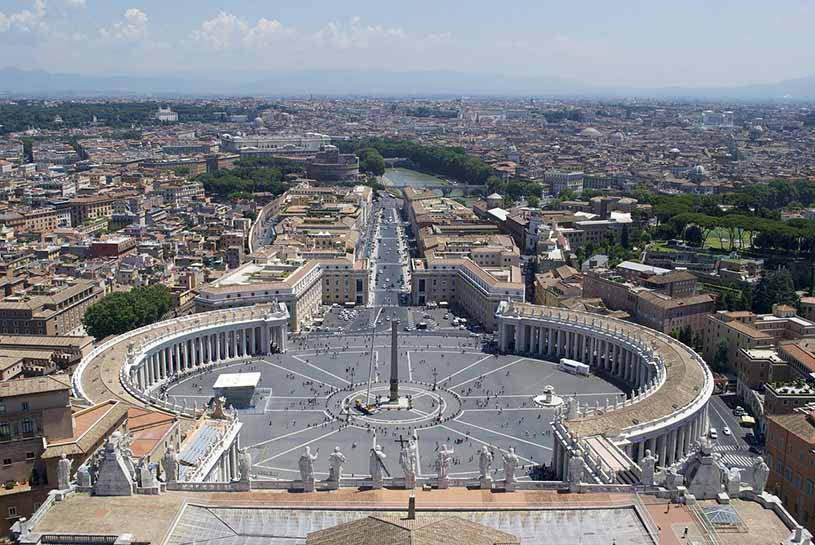 View of Rome from the dome of St. Peter's Basilica in Vatican City