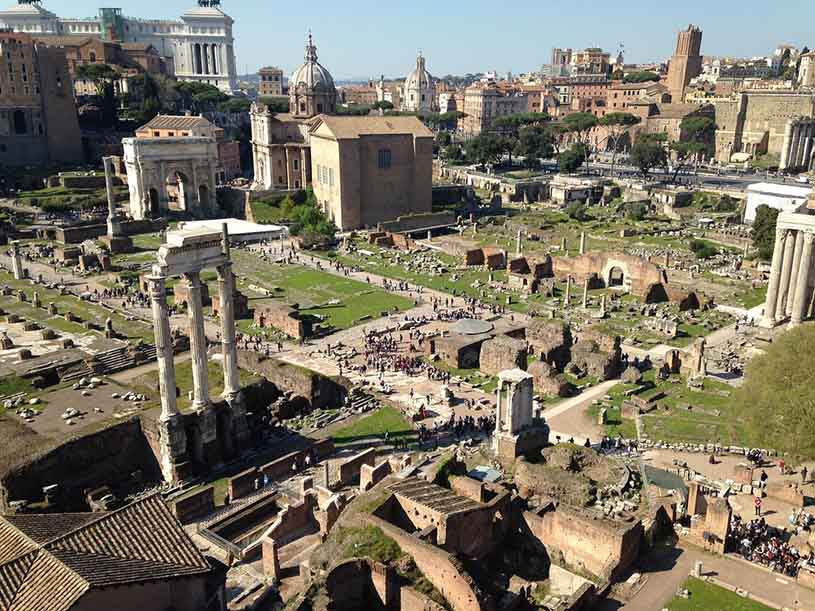 View of the ancients ruins in Rome.
