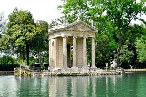 The pavillion of the Villa Borghese gardens by the pond, in Rome.