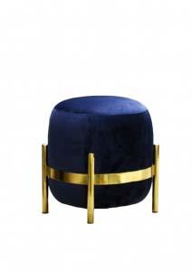 A dark blue velvet pouf with a brass stand