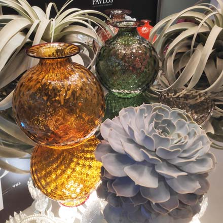 Gorgeous display of Murano glass vases by Venini among plants