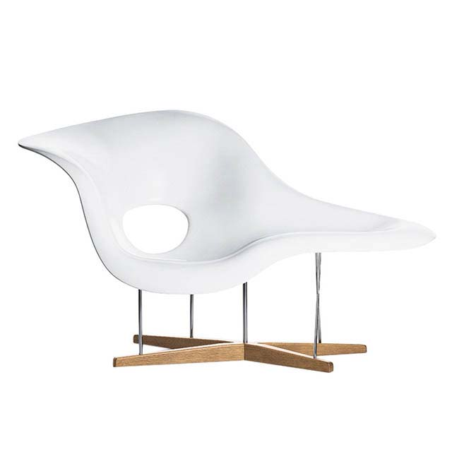 The Vitra Eames La Chaise chair in white first designed in 1948. Image by Nest.co.uk