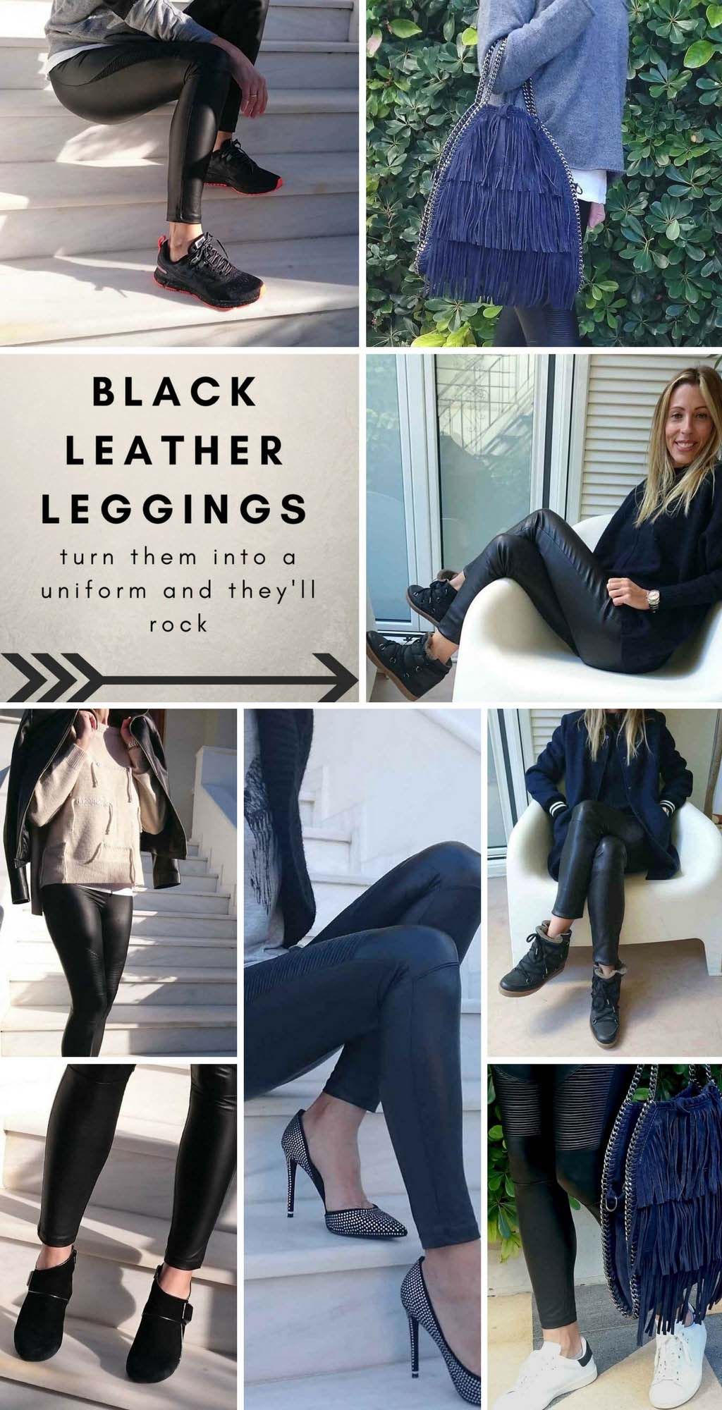 A collage of images where Elisabeth is wearing black leather pants and Velvet black faux leather leggings.