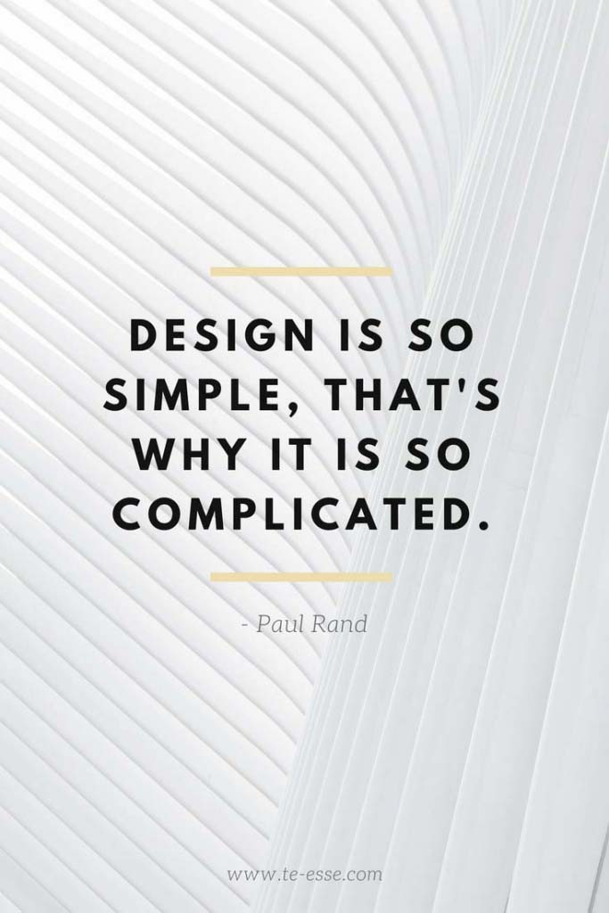 A photo of an architectural detail by Christian Perner with a quote saying Design is so simple, that's why it is so complicated cited from Paul Rand.