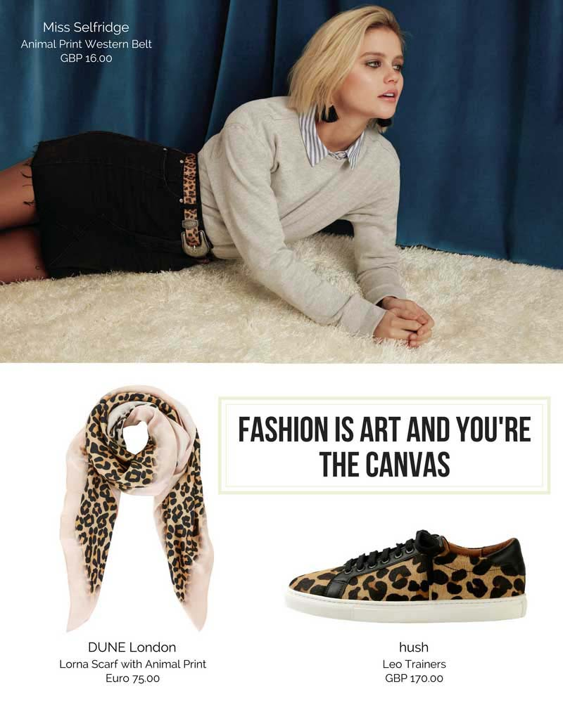 A leopard print belt can make all the difference in the world in a casual outfit with a black denim skirt as worn by a blonde woman. (Image by Miss Selfridge). A scarf that combines both blush pink and the leopard print is spot on. (Image by Dune london). Last a pair of leopard print sneakers from hush, looking good! (Image by hush).