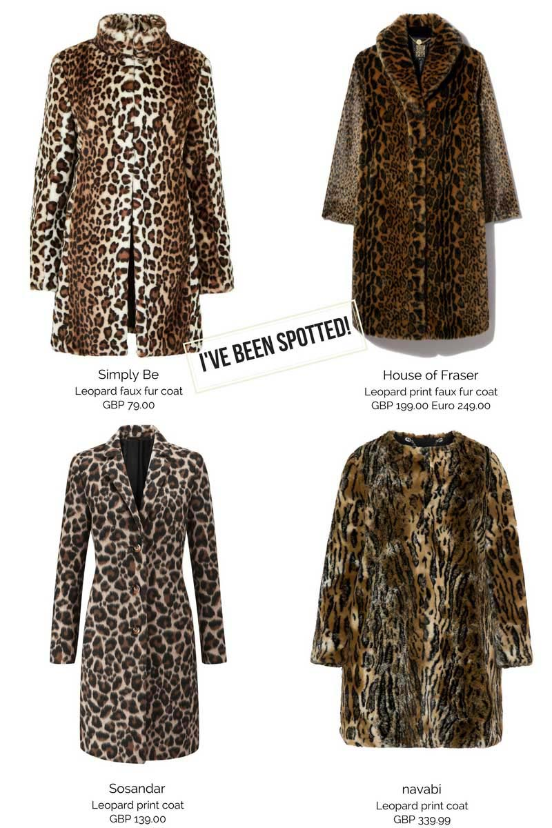 Four different leopard print coats. Images by Simply Be, House of Fraser, Sosandar and Navibi.