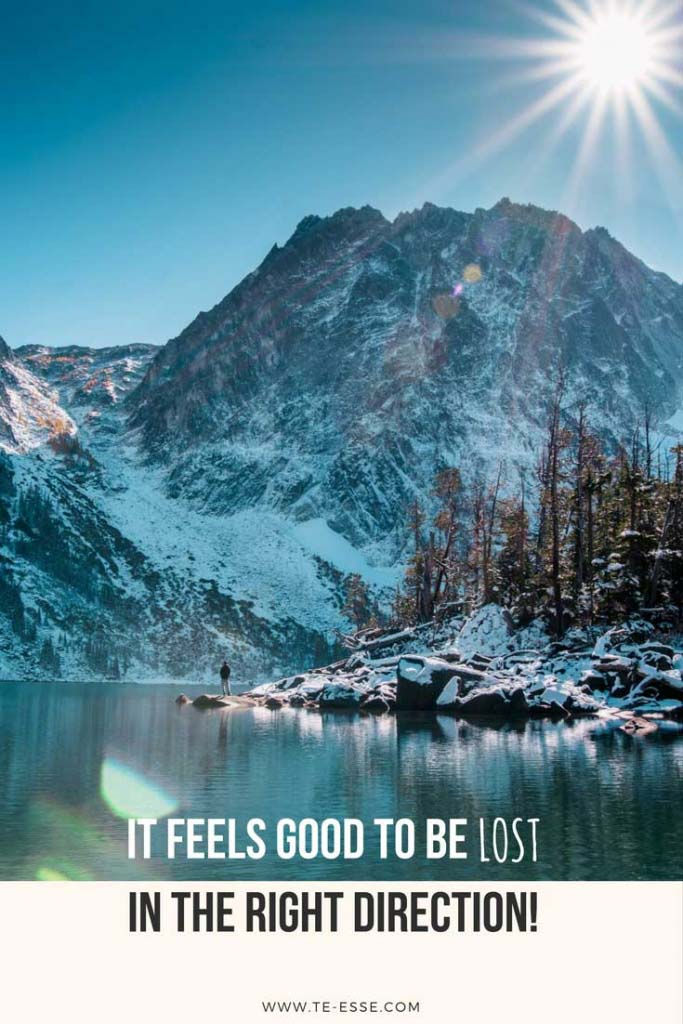 A beautiful photo by Bobby Stevenson of a winter landscape in nature with a saying under reading It feels good to be lost in the right direction.