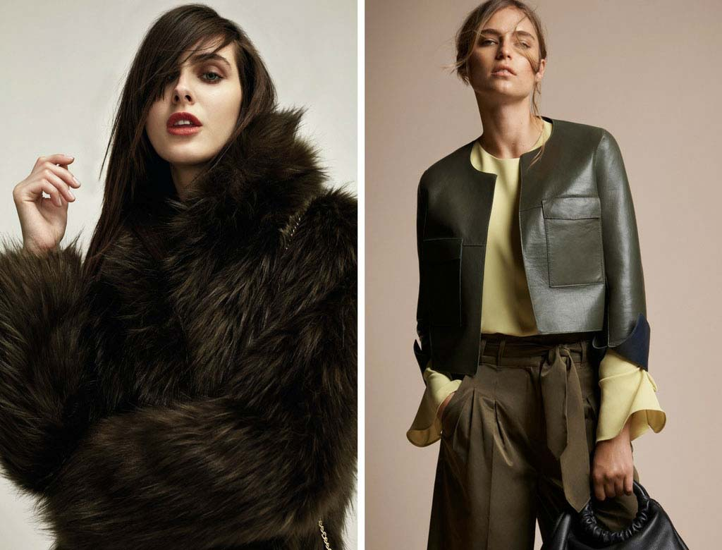 Two models. The one on the left image is wearing a gorgeous Biba faux fur coat (House of Fraser). The other on the right is wearing a cropped khaki leather jacket. (Right image by Marks and Spencer)
