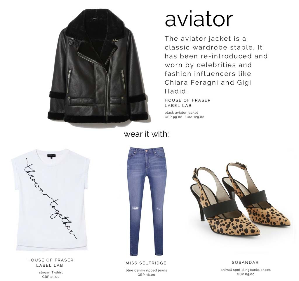 One of the coolest jackets: the black leather aviator that can be combined with a white tee, denim pants and any type of shoe to either dress it up or down. In this combination, a pair of animal print slingbacks have been used.