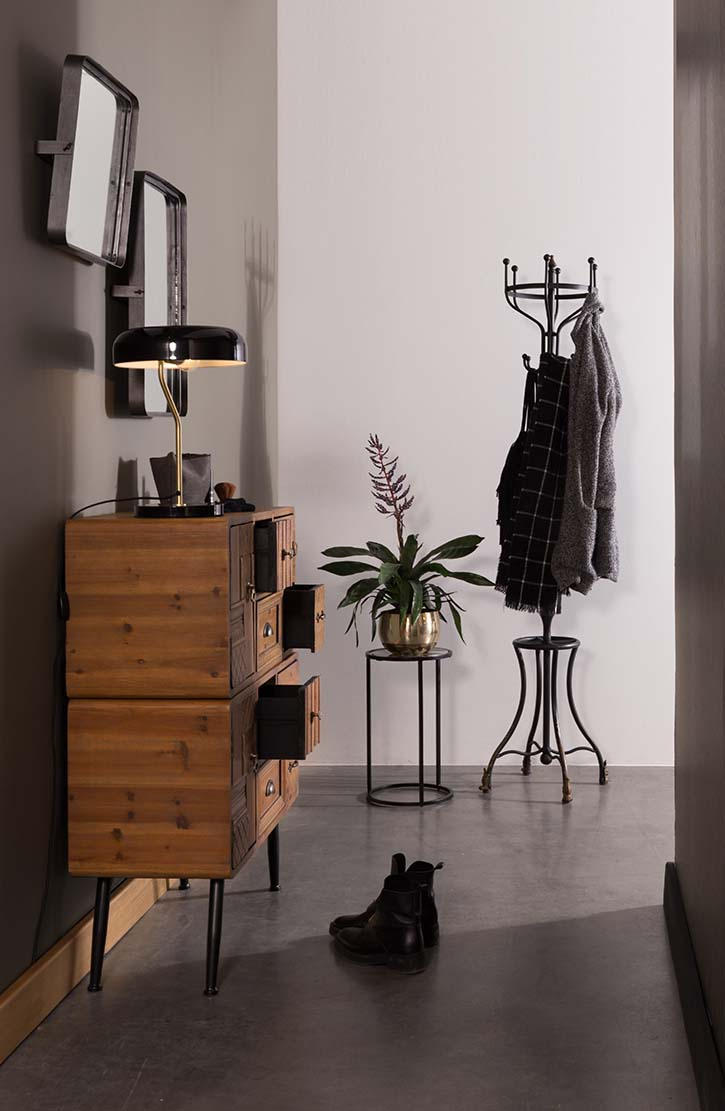 A stylish but moody entryway with a wooden sideboard, a brass side table with a planter on it and a coat hanger next to it. Image from Cuckooland.
