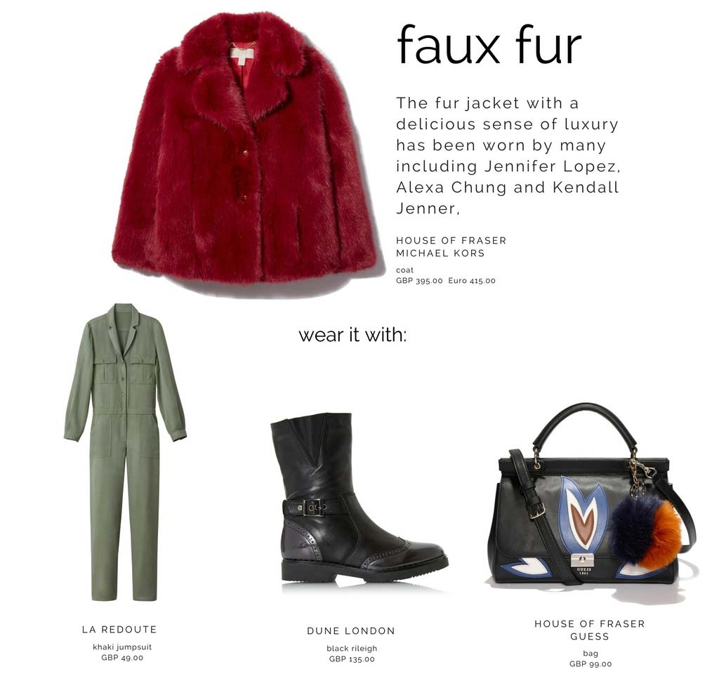 A Micheal Kors (at House of Fraser) red fur coat can be combined with a utility jumpsuit, black combat boots and a black leather GUESS handbag.
