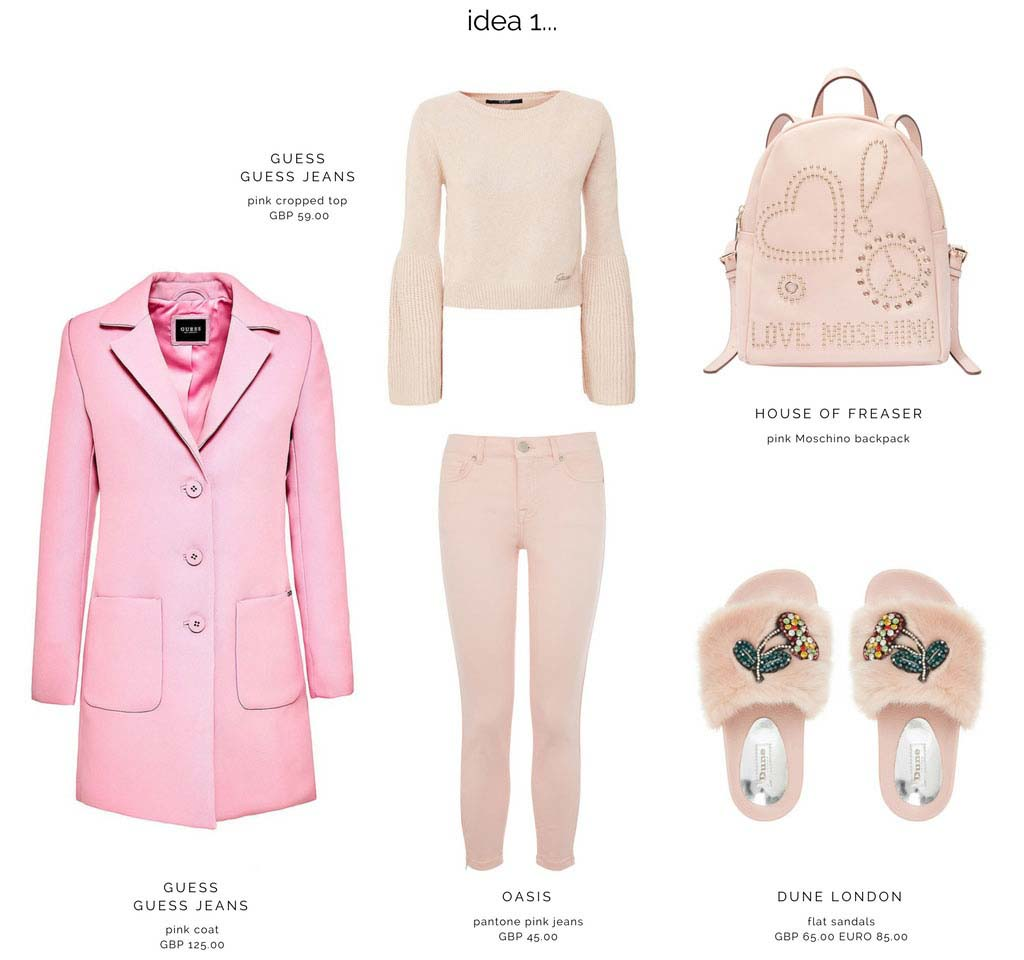 First idea moodboard for an all pink outfit with pink jeans, coat, flat sandals, cropped jumper and Moschino backpack.