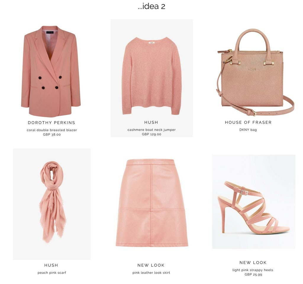 Second moodboard with an all pink outfit based on a pink leather looking skirt, blazer, DKNY handbag, scarf and strappy sandals.