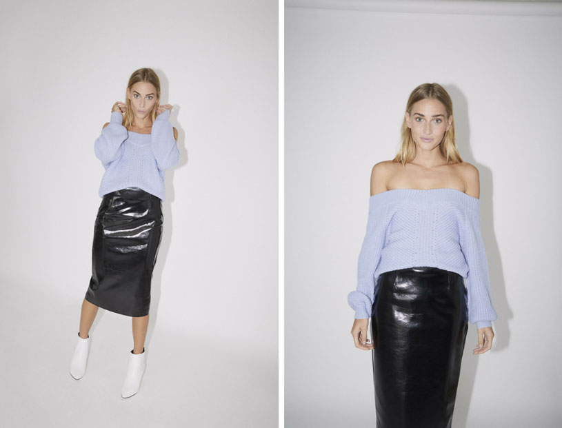 Bardot's style re-imagined. A young blonde model wears a baby blue Bardot sweater with a black vinyl pencil skirt and white booties. Images by Miss Selfridge.