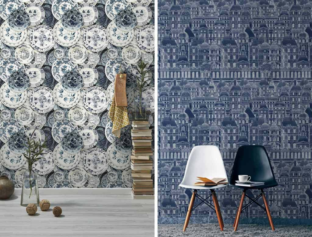 Two gorgeous, unconventional motifs for blue based wallpapers. Images by MindtheGap.