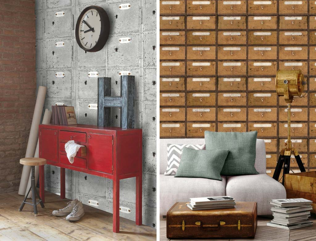 Two gorgeous, unconventional motifs for industrial based wallpapers. Images by MindtheGap.