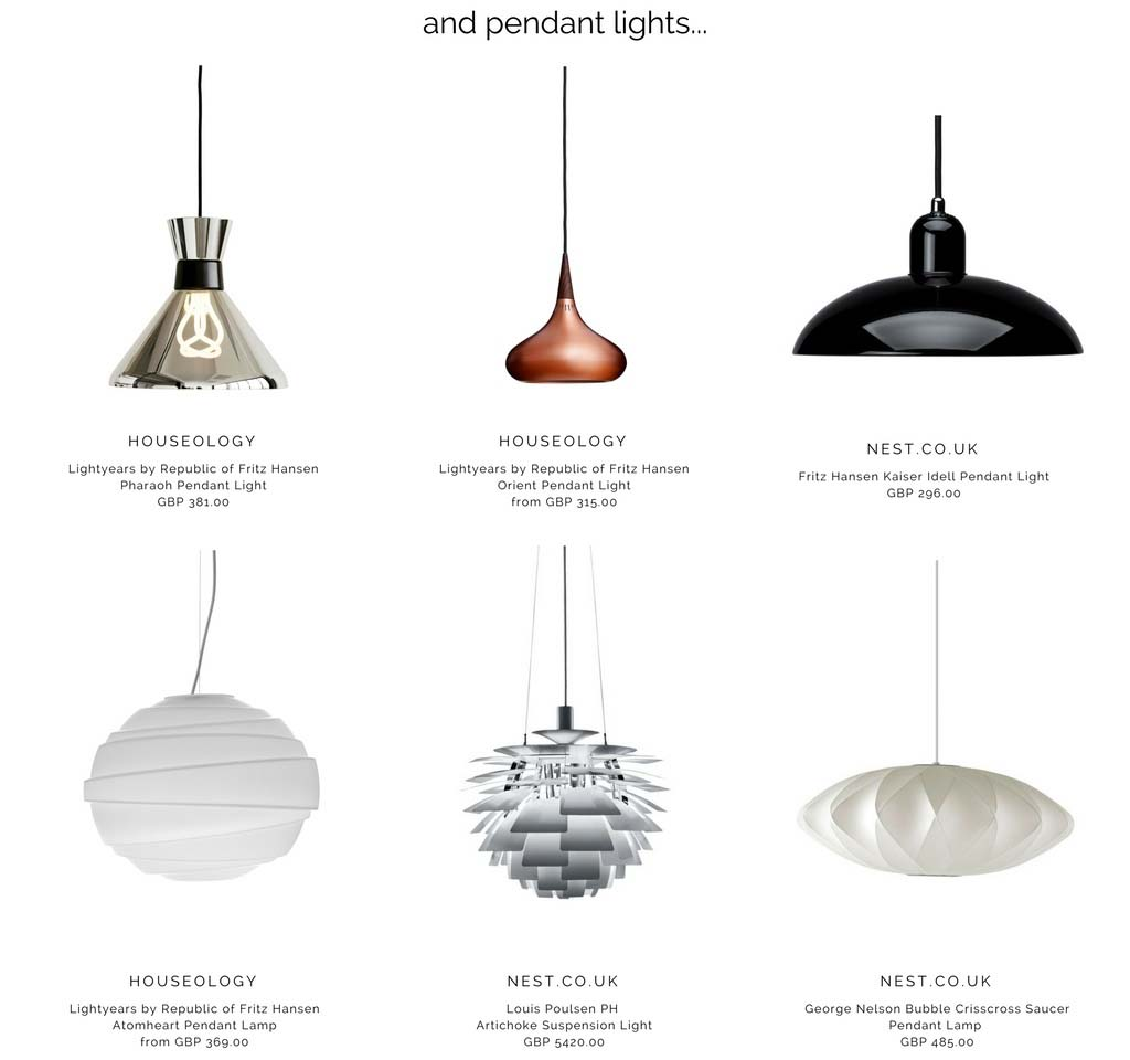 Six beatiful pendant lights, including the iconic artichoke lamp. Images by Houseology and Nest.co.uk.
