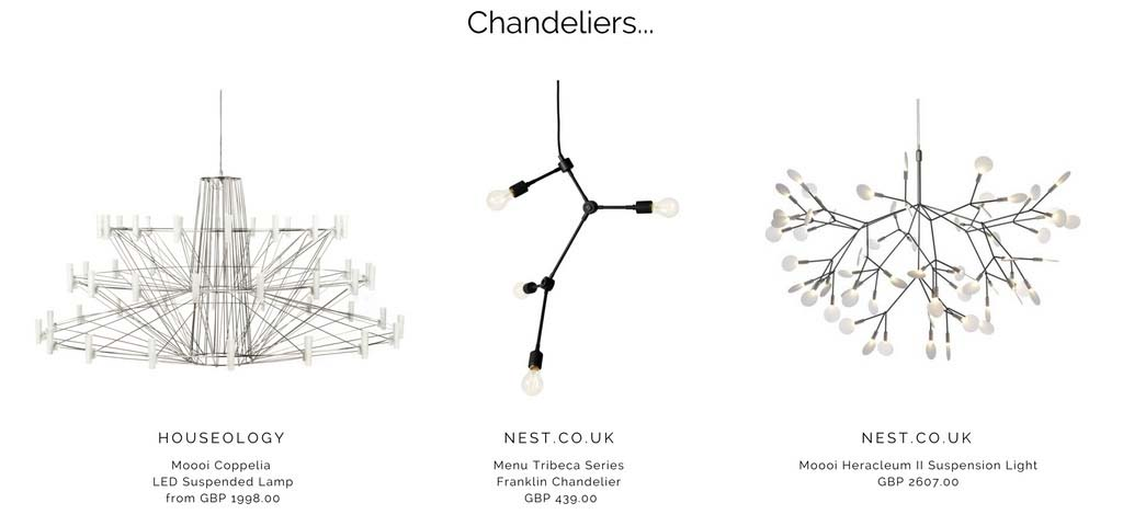 Beautiful chandeliers with a 1930's retro flair to them. Images by Houseology and Nest.co.uk